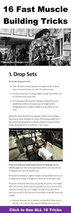 Bodybuilding - 16 fast muscle building workout tricks to build muscle faster even after you've hit a muscle building plateau Big Muscle Training, Mental Training, Weight Training, Strength Training, Training Tips, Men's Health Fitness, Muscle Fitness, Men Health, Men's Fitness