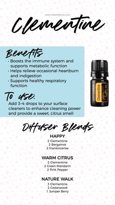 Clementine Oil, How To Calm Nerves, Essential Oils Cleaning, Witch Doctor, Geranium Essential Oil, Citrus Oil, Healing Oils, Essential Oil Diffuser Blends, Oil Benefits
