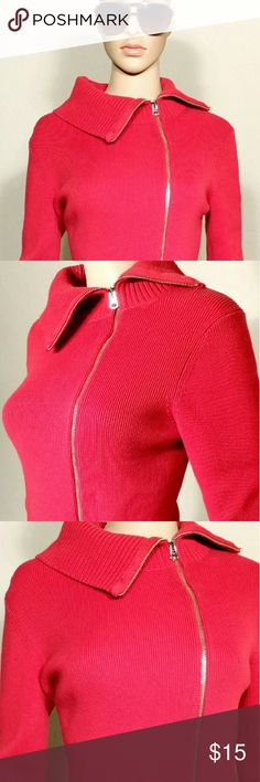 Anne Taylor Womens Red Full-Zip Jacket Size XS EXTRA SMALL 100% Cotton In Very good condition!! Very adorable!! A great gift!! Fast shipping!! Ann Taylor Jackets & Coats