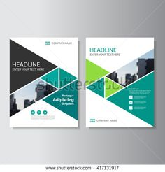 Green triangle Vector annual report Leaflet Brochure Flyer template design, book cover layout design, Abstract blue presentation templates