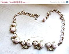 ON SALE Art Deco Celluloid Rhinestone Necklace 1940s by OurBoudoir, $70.20