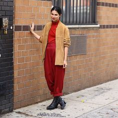31 Perfect Looks To Copy This January #refinery29  http://www.refinery29.com/january-outfit-of-the-day-ideas#slide-29  Simple silhouettes are given new life when worn in an unexpected color, like red....