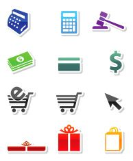 Shopping commerce royalty free vector icon set in nine colors vector art illustration