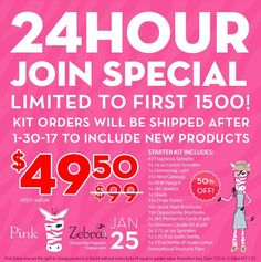 TODAY ONLY WHILE SUPPLIES LAST for one day ONLY Limited to the first 1500 to join then it's over and it's all new product it's from the 25th at midnight till 11:59 pm if they last that long!!  This is our regular $99 kit and there is a lot of product in it!!!  https://www.pinkzebrahome.com/Heavenlyscentsbytlc  https://m.facebook.com/Heavenly-Scents-by-TLC-Pink-Zebra-Independent-Consultant-203858246688544/
