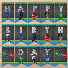 Printable PJ Masks Birthday Banner Blue & Green - 1 pennant per paper. This adorable PJ Masks Birthday Banner is the perfect way to add that special touch to your little ones birthday party! ============================== Whats Included In the Listing? Pj Masks Party Favors, Pj Mask Party Decorations, Festa Pj Masks, Pj Masks Printable, Party Printables, Happy Birthday Banner Printable, Happy Birthday Banners, 3rd Birthday Parties, Girl Birthday