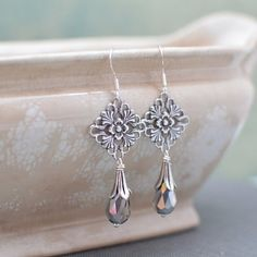 Silver Art Nouveau Chandelier Earrings with Silver Crystals