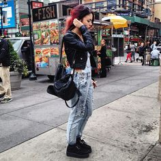 Luanna Perez.leather jacket.denim.creepers outfit