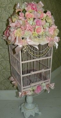 Shabby Pink Vintage Large Bird Cage smothered in Roses On ornate stand