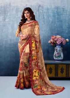 Brown Color Georgette Printed Saree Product Details : Fabric of this casual wear saree is georgette. Comes along with a beige color raw silk unstitched blouse. Saree has flower design print. Ideal for casual wear or daily wear. Drape this party wea Latest Saree Trends, Latest Sarees, Georgette Sarees, Silk Sarees, Indian Sarees, Mantel Beige, Embroidered Clothes, Traditional Sarees, Printed Sarees
