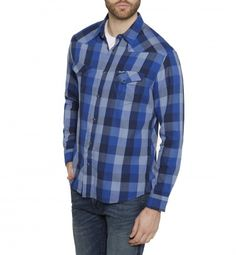 Wrangler Western Long Sleeve Check Shirt Surf The Blue