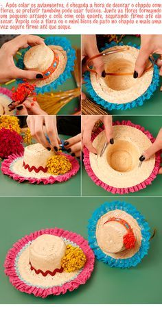 8. Tutorial - Passo a Passo 3 Tiara Festa Junina Paper Ribbon, Diy Ribbon, Ribbon Hair, Hair Bows, Fall Crafts, Diy And Crafts, Diy Hat, Popsicle Sticks, Barbie And Ken