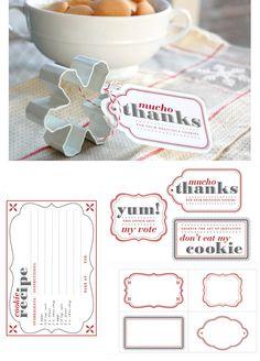 DIY - Cookie Exchange Tags + Recipe Card PDF Printables.