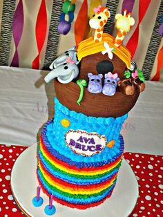 Ava Bruce's Noah's Ark cake - Ava Bruce's Noah's Ark cake - Whate Velvet Cake with Buttercream Forsting. All Buttercream. Noah's Ark Topper Rice Krispy Treats covered in Fondant, Fondant Animals, Fondant Name Plaque. Creative Cake Decorating, Creative Cakes, Noahs Ark Cake, White Velvet Cakes, Buttercream Cake Designs, Religious Cakes, Different Types Of Cakes, Baby Shower Cakes For Boys, Yummy Cupcakes