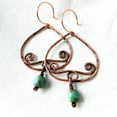 Antiqued Copper Earrings Hammered Jewelry by KariLuJewelry on Etsy