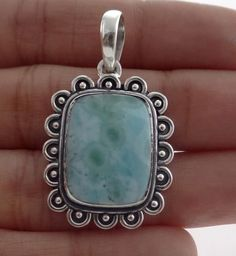 Larimar Pendants Natural Gemstone Bezel set in Solid 925 Sterling Silver. #Rananjay #HandmadePendant