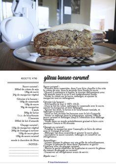 Carton Recette n°93 Sauce Caramel, Cake & Co, Dairy Free, Charlotte, Banana, Recipes, No Dairy