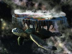 The Great A'Tuin with the four elephants. Their names are Tubul, Jerakeen, Berilia and Great T'Phon.
