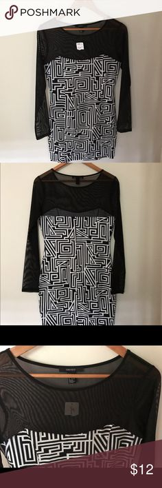 "🆕NWT Dress, Forever 21, Blk & White New with tags, Forever 21 body con dress. Black sheer bodice & long sleeves with black & body is white geometric cotton print with stretch & seams on both sides in front. Very flattering & sexy style. Length is approx 32"". Runs small, fits as a medium. Clean, non-smoking home. Packaged to protect & shipping is same or next day. Forever 21 Dresses Mini"