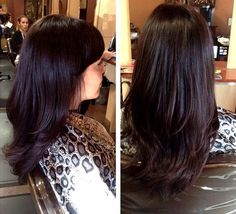 espresso brown hair layered haircut incorporate a subtle wash of violet into your rich dark chocolate brown hair