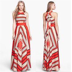 fd38c95a4d0 Summer Floor Length Dress Fashion Women Strapless Halter Loose Beach Long  Maxi Dress Vintage Vestidos Plus Size Chiffon Dresses