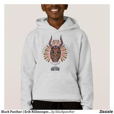 Black Panther | Erik Killmonger Tribal Mask Icon Hoodie. Must have awesome Marvel items. #marvel #marvelcomics #comics #personalize #giftideas #shopping Black Panther Villain, Black Panther Marvel, Villain Mask, Boys Hoodies, Sweatshirts, Erik Killmonger, Superhero Gifts, Marvel Dc Comics, Colorful Shirts
