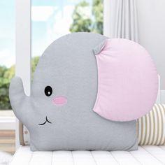 Almofada Amiguinho Elefante 32cm Cute Pillows, Baby Pillows, Kids Pillows, Animal Pillows, Sewing Projects For Kids, Sewing For Kids, Baby Sewing, Baby Room Decor, Nursery Decor