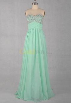 [US$178.00] A-line Sweetheart Floor-length Beading Chiffon Evening Dress