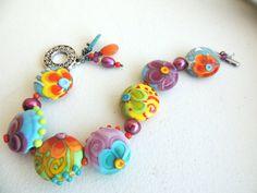 Gorgeous Artisan Lampwork Bracelet Color Splash --great summer brights $152.00