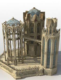 Elvish Architecture Elven temple Fantasy town Environment concept art