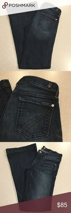 7 For All Mankind Jeans 25X33 Dojo In NYD Rivet! ❗️PRICE ABSOLUTELY FIRM❗️ 7 for all mankind jeans Size 25 33 inch long unaltered inseam (hard to find) The dojo in New York dark rivet Famous rivet 7 back pockets Vibrant blue stretch denim with medium fading Perfect preowned condition, no flaws Retailed for $212.00 My dojos sell fast so don't wait on these!  All of my items come from a smoke free, pet free home and are authenticity guaranteed! Please ask any questions. 364-30 7 For All…