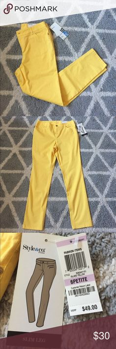 NWT Style&Co Island Yellow Pants Style&Co island yellow slim leg pants. Size 6 petite. New with tags. Made with 98% cotton and 2% spandex. Functional pockets in both the front and back. Waist: 30 inches. Inseam: 27 inches. Rise: 9 inches. Bundle for a discount.  Cute for spring and summer! Style & Co Pants Skinny