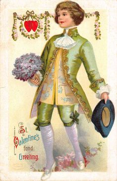 St Valentines Day Greeting Colonial Boy Bouquet Antique Postcard K36023 | eBay