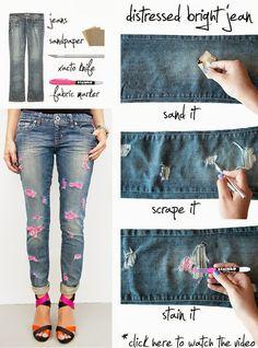 Diy Distressed Brignt Jeans
