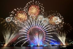 London City - The London eye - fireworks - New years eve - The thames