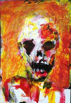 """ZOMBIE ART,    abstract,   original art,ACEO  jack larson 3.5""""x2.5"""" #Abstract"""