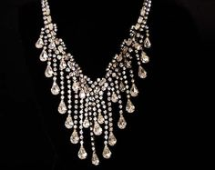 Rare Vintage CASTLECLIFF Diamante Waterfall Bib Necklace