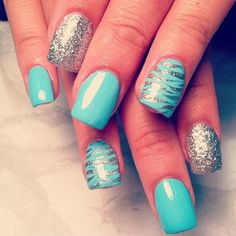 #IHeartNailArt silver and teal with zebra stripes