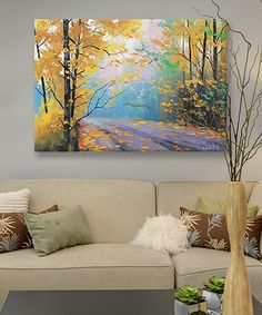 This Misty Autumn Day Wrapped Canvas by iCanvas is perfect! #zulilyfinds