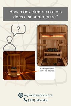 A traditional electric sauna needs one 240-volt direct wire for the heater...If you also ordered an LED light or a Himalayan Salt Wall Panel, each one will need a receptacle for one 110-volt outlet. If you have any questions about sauna, you can message us here anytime! We'd be glad to help. 😉 Traditional Saunas, Low Humidity, Led Light Bars, Himalayan Salt, Bar Lighting, Electric, Wire, The Unit, Cable