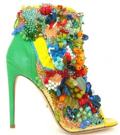 ❤ SHOES BOOTİE   Jerome Rousseau Carmen Miranda inspired JUDA bootie. Over 7000 beads including coral, freshwater pearls and vintage Czech crystal are meticulously hand-applied by Los Angeles artist Emily J. Snyder.