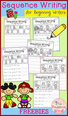 Free Sequence Writing for Beginning Writers Free Sequence Writing contains 6 free pages of narrative prompts worksheets. This product is suitable for kindergarten and first grade students. Students will observe the pictures, finish the sentences in sequen Work On Writing, Sentence Writing, Writing Workshop, Writing Sentences, Procedural Writing, Informational Writing, Writing Lessons, Teaching Writing, Writing Skills
