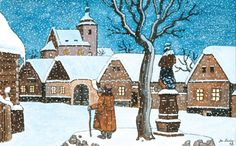 Most of Josef Lada's holiday themed artworks depict charming Czech villages in the midst of winter, snowcapped and calm. Characterized by pastel cottages, Czech villagers, and small smoking chimneys, these works evoke a feeling of warmth and nostalgia. The Good Soldier Svejk, Illustrators, Folk Art, Vintage Items, Wonderland, Christmas Cards, Nostalgia, Pastel, Colours