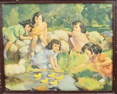Vintage Wood, Vintage Art, Five Little, Brown Paint, My Old Kentucky Home, Vintage Office, Gil Elvgren, Pin Up Girls, Art School