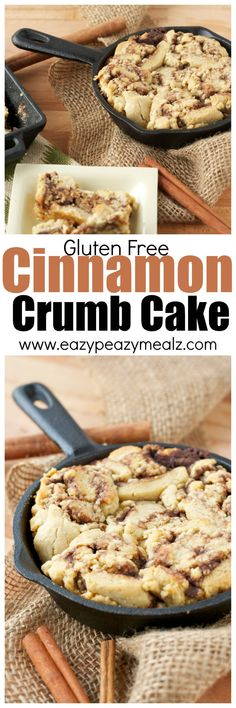 (Gluten Free) Cinnamon Crumb Skillet Cake: This easy cake whips up in no time and is really great with your morning cocoa or coffee. Plus it is gluten free! - Eazy Peazy Mealz