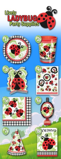 8 Adorable And Lively Ladybug Party Supplies From Our New Theme - Perfect for birthday parties, birthday parties and baby showers - www. Ladybug Party Supplies, 1st Birthday Party Supplies, Girl Birthday Themes, Frozen Birthday Party, Birthday Party Favors, First Birthday Parties, Birthday Party Decorations, Birthday Ideas, 10th Birthday