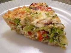 Broccoli, Shitake Mushroom and Red Pepper Quiche With A Brown Rice Crust -How To Make A Healthy Vegetarian Quiche