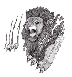 Lion tearing skin with claw tattoo design by tjiggotjurring Under Skin Tattoo, Skin Tear Tattoo, Lion Tattoo Design, Wing Tattoo Designs, Lion Painting, Painting Tattoo, Lion Head Tattoos, Cool Tattoos, Tattoo Sketches