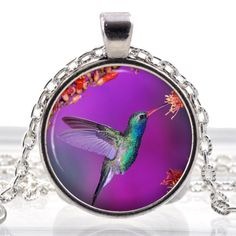 Humming Bird Glass Photo Pendant Silver Necklace Jewelry by ChicBridalBoutique on Opensky