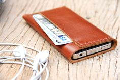 Classic branch brown leather iphone case. $22.00, via Etsy.