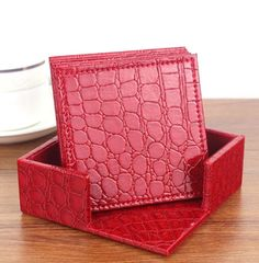 **** FREE ARTWORK , FREE SETUP AND FREE SHIPPING ****    Sale Up to 65% off store wide #bulk #gifts #freeartwork #freeEproof #businessgifts #bulk    ****Let us know if you want to customize it****    Croco Red Leather 6-Round Coaster Set WAUCUST1407: Croco red PU Leather coaster sets are an intriguing way to personalize your decor! These stylish coasters will be the talk of your next party. It Includes Six 4